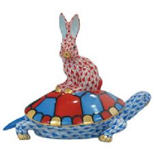 Herend Porcelain Fishnet Figurine of a Tortoise and Hare